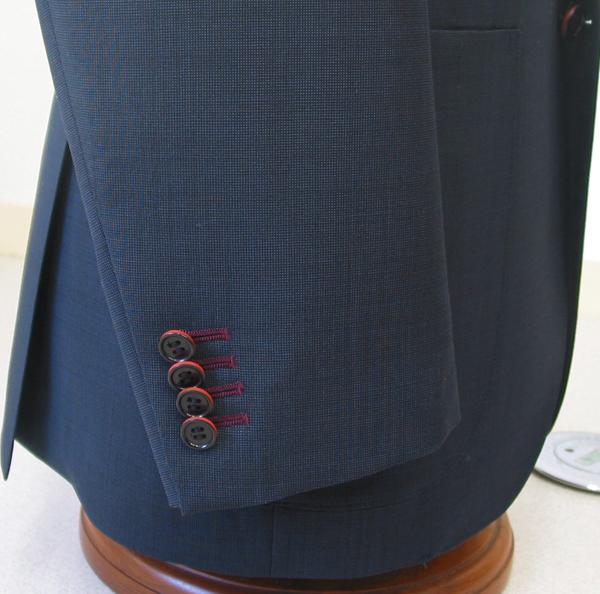 Cu|袖本開き・色糸穴かがり赤