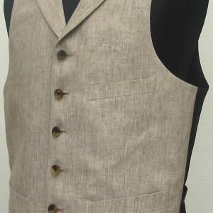 ノッチ衿付きリネンベスト(Custom)