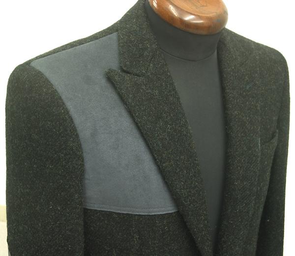 ピーク衿とガンパッチで仕立てるハリスツイードジャケット