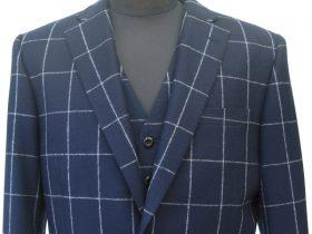 ウィンドウペーン|ネイビーフラノベスト付きスーツ