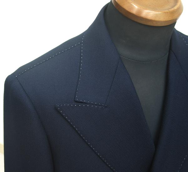サマーツイードジャケットに総ピックステッチを色糸指定で
