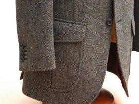 7ミリステッチでアウトフタ付きポケットもかっちりめなハリスツイードジャケット