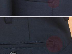 ジャケット・パンツのポケット口にD管止め