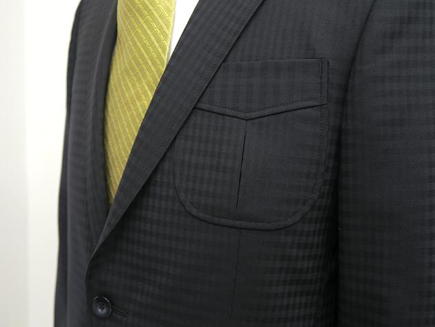 シャドウ柄スーツ・胸ポケットベース切り替え付きインボックス