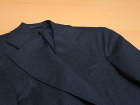 ジャケットの衿巾を広く仕立てる