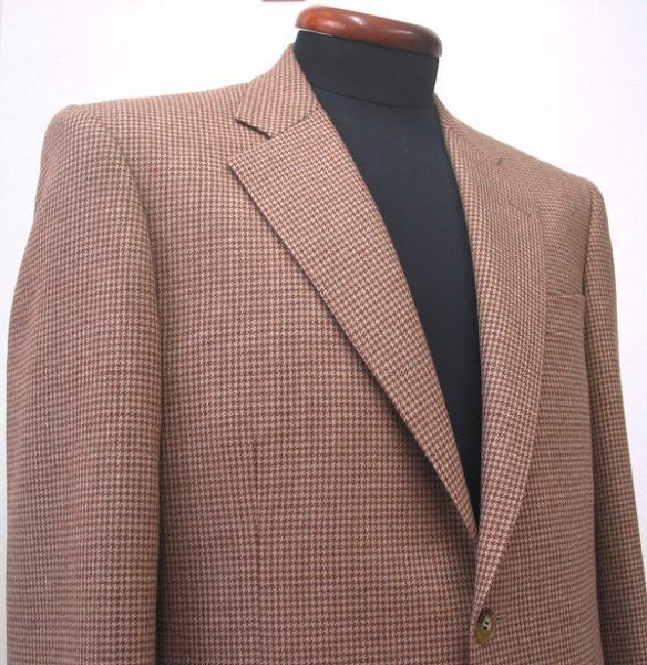 薄茶ハウンドトゥース・シングル2釦ジャケット