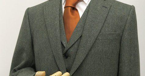 グリーンホームスパン・ベスト付き3ピーススーツ