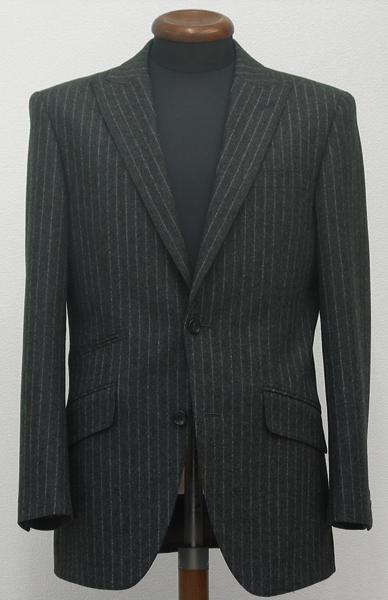 シングル2釦1掛・チャコールグレーフランネルピーク衿スーツ(Ex-made)