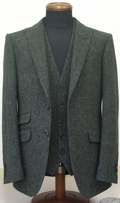 グリーンホームスパン・シングル2釦1掛ピーク衿スーツ(ブリティッシュ)
