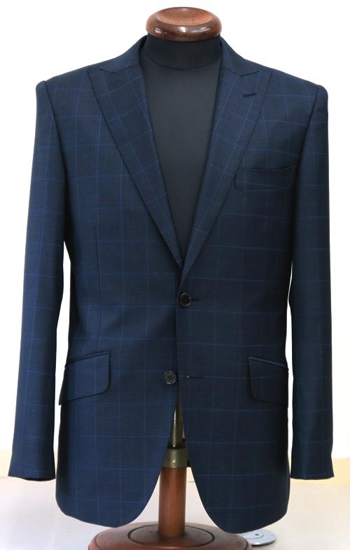 シングル2釦1掛・ネイビーウィンドウペーン柄スーツ(Ex-made)