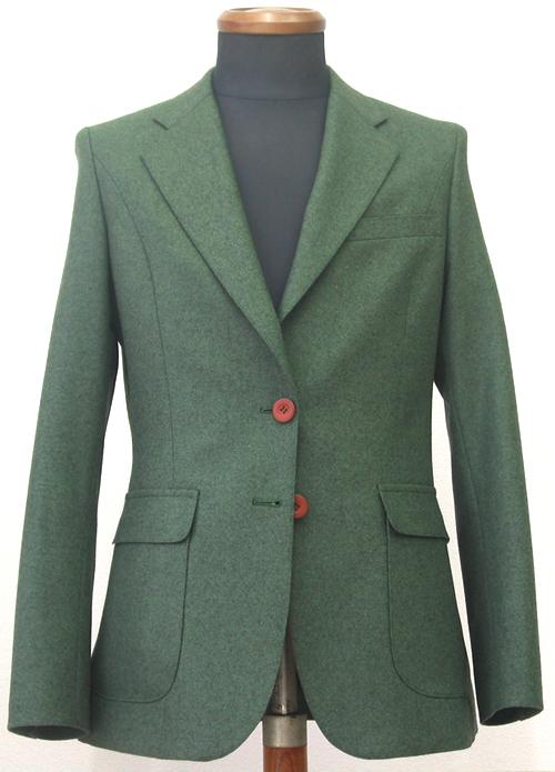 プリンセスライン(シングル2釦1掛)グリーンフランネルスーツ