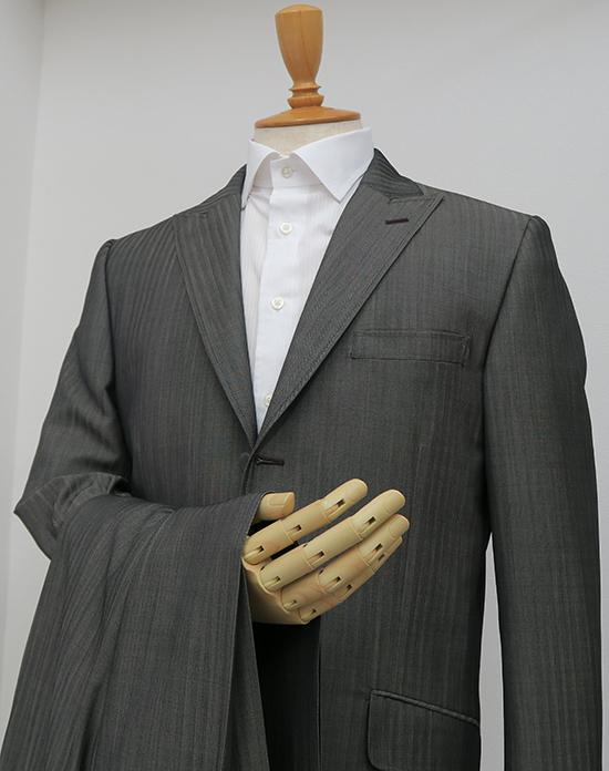 シングル3釦中段返り・ピーク衿グレーヘリンボーンスーツ(Ex-made)