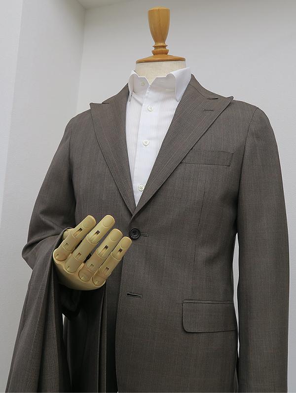 シングル2釦1掛・ブラウングレンチェックピーク衿スーツ(カスタム)