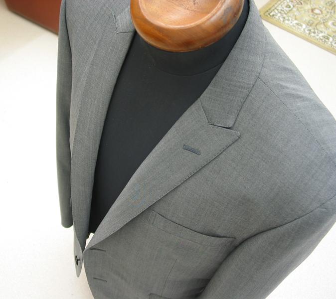 シングル2釦1掛・グレーシングルピークジャケット(Ex-made)
