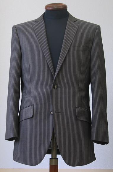 シングル2釦1掛・ブラウンストライプスーツ(Ex-made)
