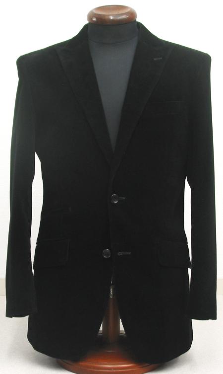 ブラックコーデュロイ・2釦ピーク衿