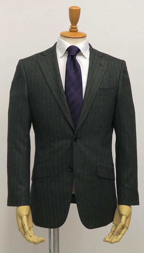 グレーヘリンボーン・シングル2釦スーツ(Ex-made・タイトクラシコ)
