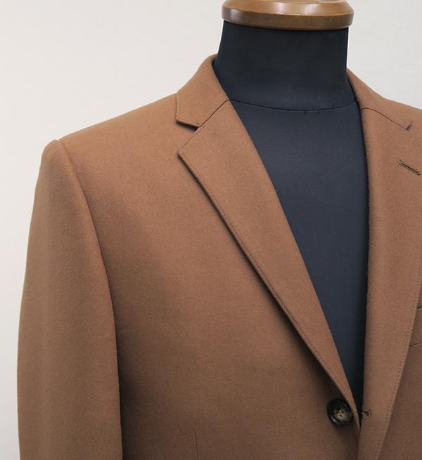 キャメルフラノ・シングル2釦スーツ(Ex-made・タイトナロー)