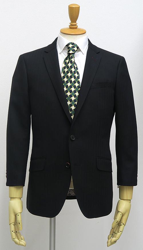 黒シャドウストライプ・2釦スーツ(カスタムライン・ショートナロー)