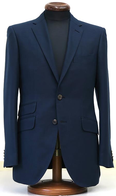 ネイビーコットン生地使用・シングル2釦1掛スーツ