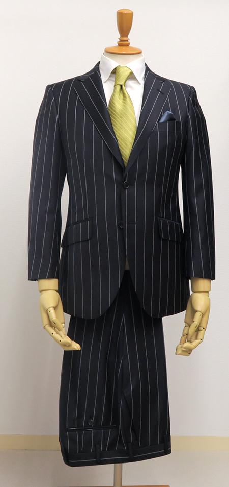 広巾ストライプ・シングル2釦ブリティッシュスーツ